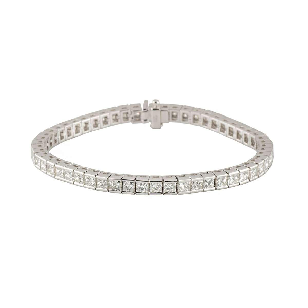 White Gold Diamond Line Bracelet 10.47ct G-H/VS